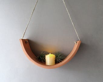 Hanging Ceramic Wall Air Plant Cradle Candle Holder Planter Vase   Natural  TerraCotta