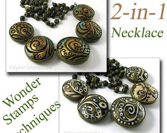 New Polymer Clay Tutorial, Carving and Mokume Gane with Wonder Stamps, Two in One Necklace, Instant Download