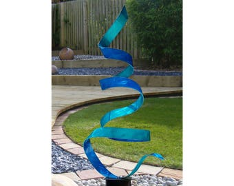 Aqua & Blue Modern Metal Sculpture, Handmade Contemporary Indoor Outdoor Artwork, Abstract Metallic Yard Statue - Bliss Twist by Jon Allen