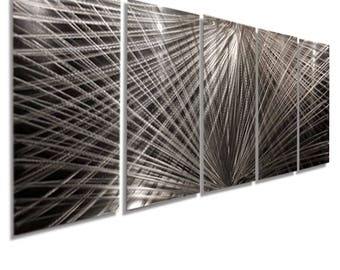 Large Silver Metal Abstract Wall Art Decor Sculpture - Polar Connections by Jon Allen