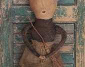 Primitive Witch Doll with Broom, Halloween Cloth Doll, Collectible Rag Doll, Handmade Halloween Doll - READY TO SHIP