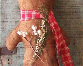 Primitive Gingerbread Doll, Large Primitive Doll, American Made Christmas Decor, Red Homespun Scarf - READY to SHIP - Christmas in July CIJ
