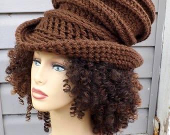 Top Hat Wide Brim Hat For Women, Brown Crochet Wide Brim Hat for Women, Crochet Top Hat for Women