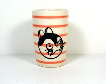 itty bitty cylinder / vase / cup with a Fortune Kitty print on Red-Orange pinstripes READY TO SHIP