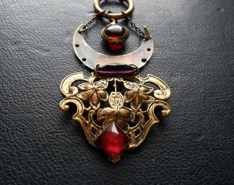 delerium - art nouveau crescent moon pendant victorian brass with ruby and amethyst gems oxidized stones statement necklace