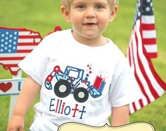 CUSTOM ORDER Fourth of July Fireworks Tractor Digger Applique Shirt or Bodysuit