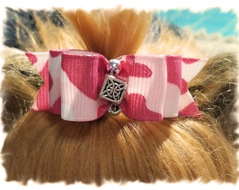 Pink Camouflage Dog Bow, Girl Dog Bow, Camouflage Pet Hair Bow, Camo Pet Bow, Camo Dog Hair Bow, Pink Show Dog Bow, Topknot Dog Bow