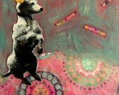 Circus series Painting Vintage poodle mixed media on canvas Heather Murray