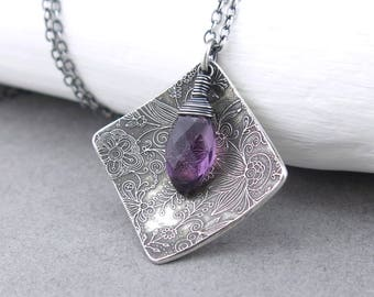 Modern Silver Necklace Amethyst Necklace Purple Pendant Silver Layering Necklace Gift Idea for Women Bohemian Jewelry  - Contrast