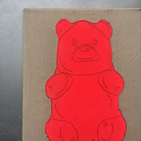 pink gummy bear hand drawn painted and embroidered wall hanging