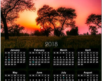 """Gorgeous Purple and Orange Sunset 2018 Full Year View 8"""" Calendar - Magnet or Wall #3864"""