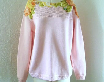 Zero waste, Pastel pink restyled jumper, vintage, applique, frayed, rose, UK 18, US 16, blogger, embroidered, beaded, spring