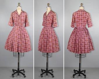1950s dress / silk / RASPBERRY TART / full skirt / vintage dress