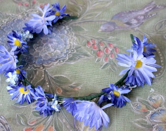 Clear Skies Faeire Flower Crown with Blue Flowers - Crown - Wreath - Tiara - Headband - Costume - Wedding - Bridal - Prom