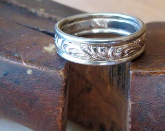 His or Hers White Gold Wedding Band Vintage Style Wedding Band Unisex Wide Wedding Band Mens Gold Wedding Ring