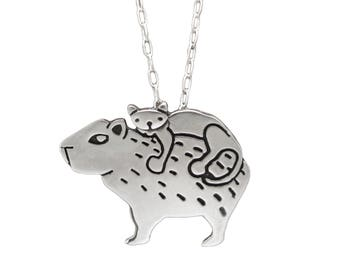 Sterling Cat and Capybara Necklace - Cute Silver Animal Friends Pendant
