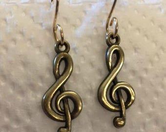 Bronze Treble Clef Earrings