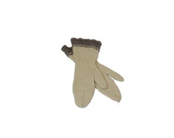 Gauntlet Mittens - Natural Cream and Gray Wool
