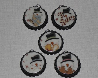 5 Black Bottle Cap Charms Christmas Holiday Snowman Gingers Candy Canes  Ornies Party Favors Mini Tree Ornaments Gift Ties