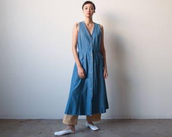 denim midi maxi dress / sleeveless denim dress / long simple denim dress / m / l / 1720d / B7