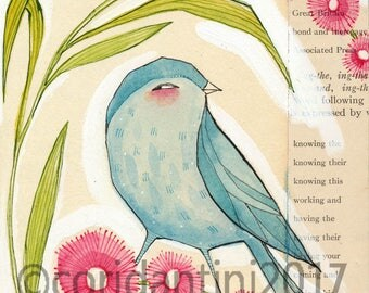 Original Watercolor bird with flowers ON SALE