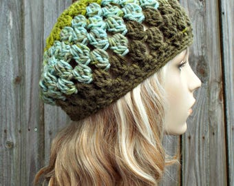 Wasabi Green Beret Green Womens Hat - Green Crochet Hat - Green Hat Green Winter Hat Green Beanie Granny Square Hat - READY TO SHIP