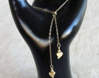 Gold Filled Bolo with Satin Heart Charms- Ajustable Tassel Bracelet - Two Hearts - Valentine's Day Gift