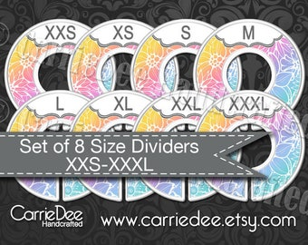Assembled Clothing Size Dividers, Consultant Tools, LuLaRoe Size Divider Set, Rainbow Floral Design, LLR Size Cards