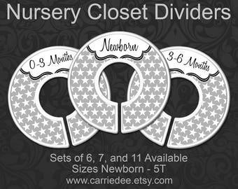 Baby Closet Dividers, Baby Clothes Organizers, Grey Nursery Decor, Gender Neutral - Grey Stars