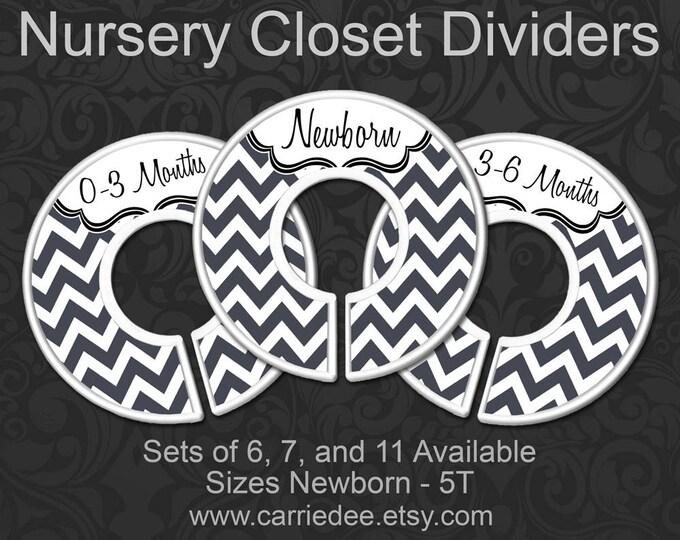 Charcoal Grey Chevron Baby Closet Dividers, Nursery Closet Dividers, Baby Clothes Organizers, Gray Chevron Baby Decor, Gender Neutral Baby