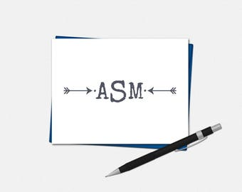 Personalized Arrow Monogram Note Cards - Set of 10 - Folded Note Card - Men's Stationery - Masculine Note Card - Monogrammed Note Card