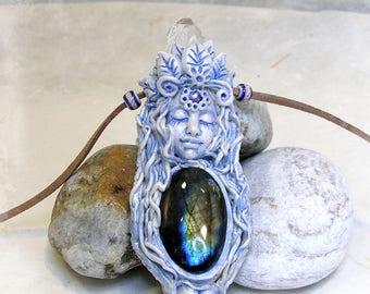 Diosa Mística colgante, colgante Piedra luna o Labradorita a escoger colgante Diosa, boho, bohemio. Místico