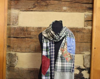 Plaid Flannel Scarf Oversized Patchwork Tartan Plaid  Rustic Style Upcycle Scarf Boho Chic Fashion Scarves Hippie Clothes