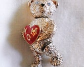 "Napier Articulated Silver Bear Brooch Pin holding a Red Heart that say's MOM with Aquamarine Blue Eyes 1 3/4"" tall"