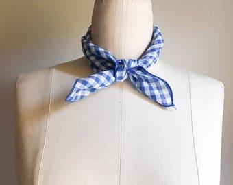 Cool Vintage 70s 80s Navy Royal Blue Gingham Necktie Handkerchief
