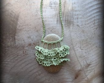Sale, Artist Necklace, Crocheted Lace, River Stone, Gift, Original, Green, Gray, Layered Leaves, Handmade, Nature, Tutu, Bohemian, Monicaj