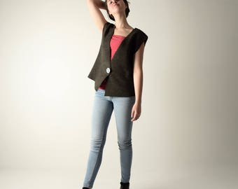 Felt vest, Wool vest, Womens vest, Sleeveless cardigan, Sweater vest, Wool cardigan, Womens top, Winter clothing, Handmade vest, Wool top