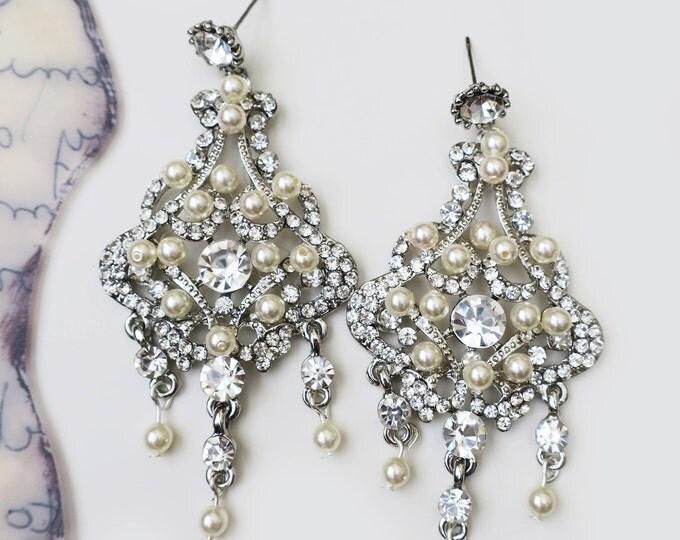 Zircon Pearl Chandelier Earrings