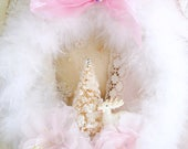 Snow White Christmas Feather Wreath Vintage Deer Holiday Swarovski Decoration Shabby Cottage Sweet