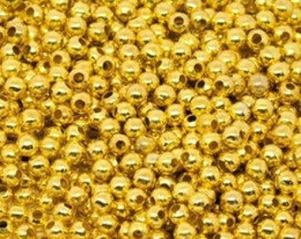 2mm Gold-Plated Round Beads (100)