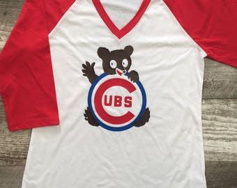 Girls s/s Raglan Baseball t shirt Vintage style Chicago Cubs bear Cubbies blue kids toddler Red White Retro