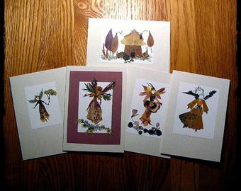 Flower Fairy Cards (Set of 5), pressed flowers, flower art, fairy art, greeting cards, fairy, natural materials, Waldorf