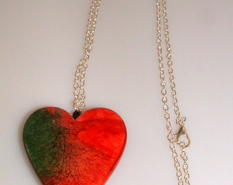 Heart Pendant Necklace Red and Green Heart Glass Heart Necklace Pendant