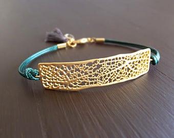 Gold Leaf Vein Bar Jewelry Bracelet - Leaf Venation Charm - Green Cords - Botanical Jewelry - Wedding Gift - Gift for Her - Birthday Gift