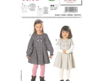 Girls Short Long Sleeve Dress 2 to 7 Sewing Pattern Burda 9564