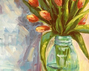 Spring Tulips in Mason Jar