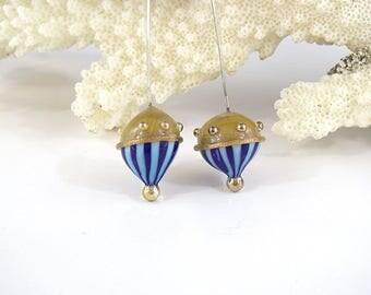 sra artisan lampwork glass headpins flameworked pattylakinsmith patty Lakinsmith matched pairs tan lapis turquoise handmade