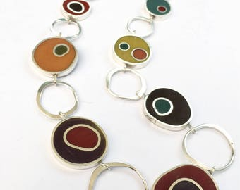 Resin Circles Necklace Reversible Hand Forged Hammered Silver Chain MCM Colorful