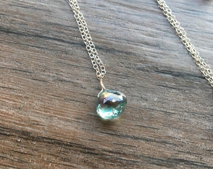 Mystic Green Topaz Littles Necklace Dainty Delicate Minimalist Bridal Bridesmaid