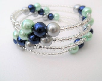 Mint Navy Silver Bracelet, Mothers Day Gift, Wrap Bracelet, One Size Bracelet, Pearl Bracelet, Mint Wedding Theme Jewelry, Gift For Her